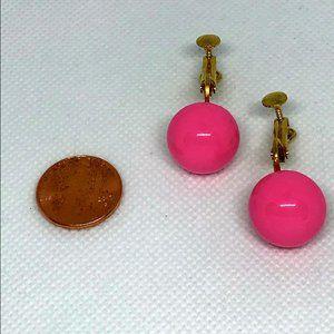 Vintage Bubble Gum Pink Spheres Clip On Earrings